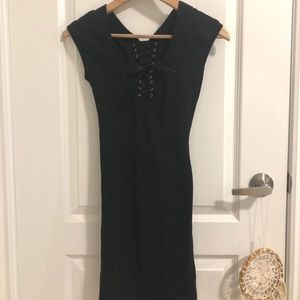 Nasty Gal Black Lace-up Dress